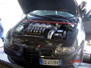 """147 GTA sul banco prova della rivista """"Elaborare"""", nell'autodromo di Vallelunga"""